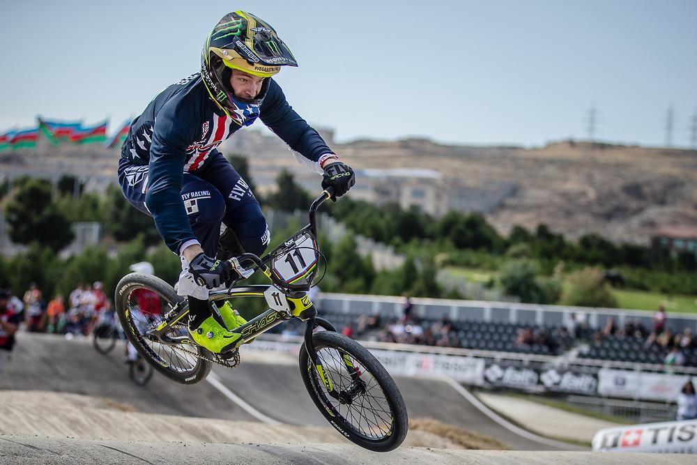 Men Elite #11 (FIELDS Connor) USA the 2018 UCI BMX World Championships in Baku, Azerbaijan.