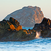 Sea Stack and incoming tide north of Klamath California where Redwood Creek meets the sea.