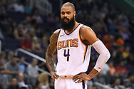 Oct 11, 2017; Phoenix, AZ, USA; Phoenix Suns center Tyson Chandler (4) reacts on the court during first half of the game against the Portland Trail Blazers at Talking Stick Resort Arena. Mandatory Credit: Jennifer Stewart-USA TODAY Sports