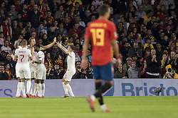 October 15, 2018 - Seville, Spain - Players of England celebrate after scoring 2-0 during the UEFA Nations League Group A4 soccer match between Spain and England at the Benito Villamarin Stadium (Credit Image: © Daniel Gonzalez Acuna/ZUMA Wire)