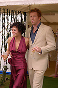 Helen McCrory and Damian Lewis, And Sam Branson twice.  Cartier International Day at Guards Polo Club, Windsor Great Park. July 24, 2005. ONE TIME USE ONLY - DO NOT ARCHIVE  © Copyright Photograph by Dafydd Jones 66 Stockwell Park Rd. London SW9 0DA Tel 020 7733 0108 www.dafjones.com