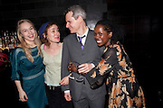 SARAH GOLDBERG; SOPHIE THOMPSON; BRUCE NORRIS; LORNA BROWN; Clybourne Park Press night. Opened at Wyndham's Theatre. Party afterwards at Mint Leaf, Haymarket, London. 8 February 2011.  -DO NOT ARCHIVE-© Copyright Photograph by Dafydd Jones. 248 Clapham Rd. London SW9 0PZ. Tel 0207 820 0771. www.dafjones.com.