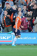 Jack Marriott scores and celebrates during the Sky Bet League 2 match between Luton Town and AFC Wimbledon at Kenilworth Road, Luton, England on 26 September 2015. Photo by Stuart Butcher.