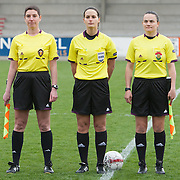 21120413 - IEPER, BELGIUM : The referees of the games are pictured during the Second qualifying round of U17 Women Championship between England and Iceland on Friday April 13th, 2012 in Ieper, Belgium.