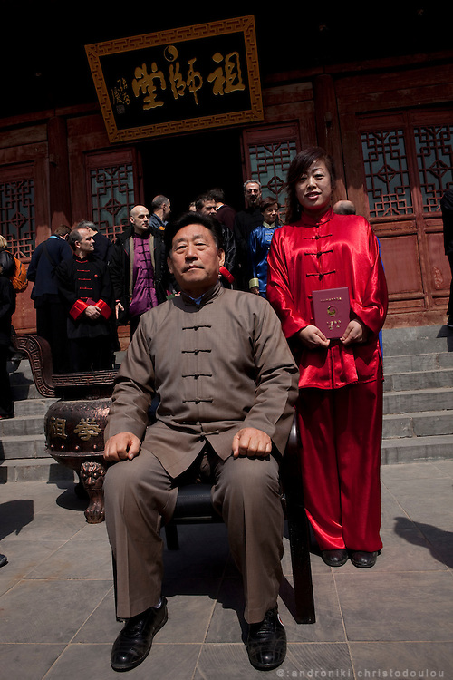 Grandmaster Chen Xiaowang with one of his official students, outside a temple after a ceremony to accept a number of students as his official students and new members of the Chen family.