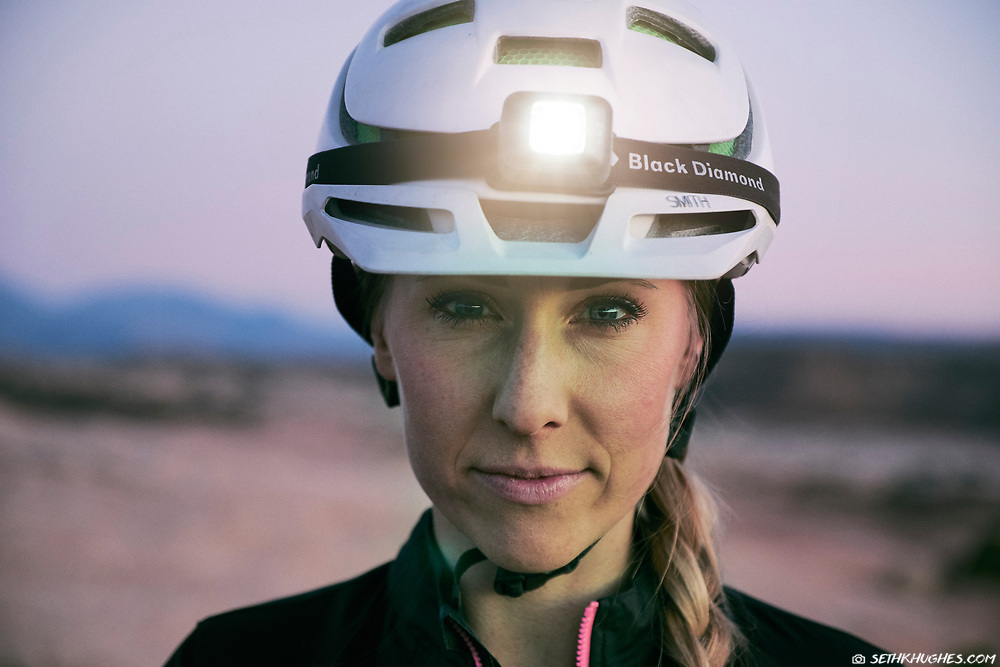 A portrait of a strong, female athlete outside in the desert near Moab, Utah.