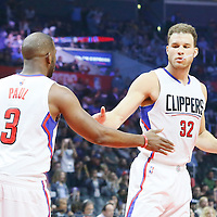 12 April 2016: Los Angeles Clippers guard Chris Paul (3) is seen next to Los Angeles Clippers forward Blake Griffin (32) during the Los Angeles Clippers 110-84 victory over the Memphis Grizzlies, at the Staples Center, Los Angeles, California, USA.