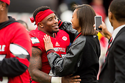 Louisville running back Brandon Radcliff proposed to his girlfriend Shakyra Young of Lebanon before the game. The University of Louisville hosted Kentucky, Saturday, Nov. 26, 2016 at Papa John's Cardinal Stadium in Louisville. Kentucky won the game 41-38.