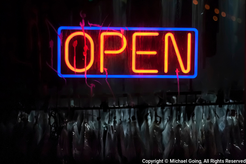 Open Neon Sign  Dry Cleaners at night