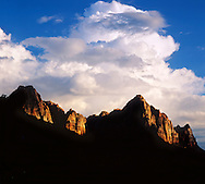 Jagged, Saw Tooth Peaks In Late Afternoon Light At Zion National Park, Utah, USA