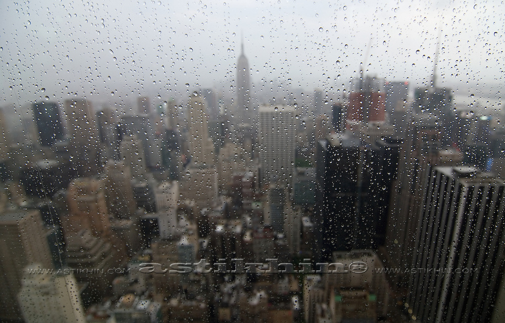 "Rainy day in Manhattan from Observation Deck ""Top of The Rock"""