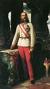 Austrian Emperor Franz Joseph I. portrait 1873. Painted by  Franz Seraph Lenbach (1836 - 1904). German painter.