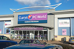 ©Licensed to London News Pictures 27/02/2020<br /> Orpington, UK. Exterior of Currys PC World Orpington. Orpington Currys and PC World superstore in South East London was robbed yesterday morning by a group of men who walked into the store and started ripping laptops and phones from the displays. One of the men was heard shouting he will kill anyone that tries to stop them. A video of the incident has been posted online. Photo credit: Grant Falvey/LNP