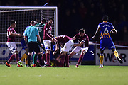 A  brawl erupts during the EFL Sky Bet League 1 match between Northampton Town and Shrewsbury Town at Sixfields Stadium, Northampton, England on 20 March 2018. Picture by Dennis Goodwin.