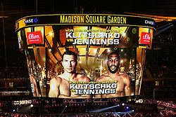 25.04.2015, Madison Square Garden, New York, USA, WBA, Wladimir Klitschko vs Bryant Jennings, im Bild Anzeigentafel, Videowuerfel // during IBF, WBO and WBA world heavyweight title boxing fight between Wladimir Klitschko of Ukraine and Bryant Jennings of the USA at the Madison Square Garden in New York, United Staates on 2015/04/25. EXPA Pictures © 2015, PhotoCredit: EXPA/ Eibner-Pressefoto/ Kolbert<br /> <br /> *****ATTENTION - OUT of GER*****