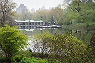 Spring greens with a view of the Boathouse at the Lake in Central Park