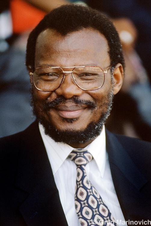 Durban, KwaZulu Natal, South Africa 1994. IFP leader Mangosuthu Buthelezi, Zulu rally, Kings Park Stadium, Durban 1994