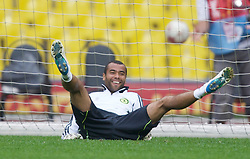 MOSCOW, RUSSIA - Tuesday, May 20, 2008: Chelsea's Ashley Cole tries his hand as a goalkeeper during training ahead of the UEFA Champions League Final against Manchester United at the Luzhniki Stadium. (Photo by David Rawcliffe/Propaganda)