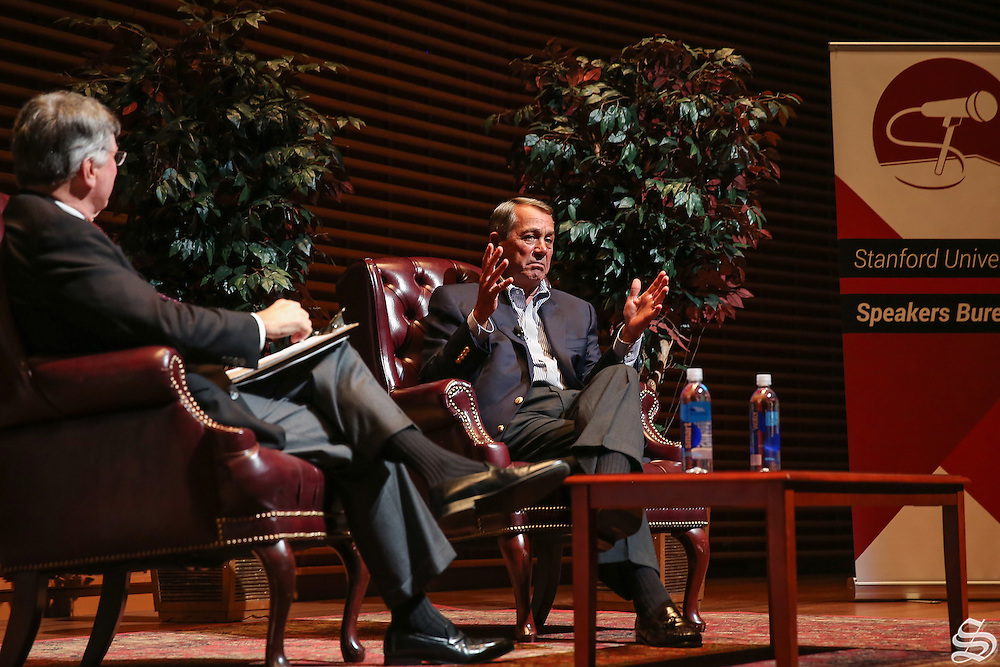 In his comments at Stanford, former Speaker of the House John Boehner referred to Ted Cruz as &quot;Lucifer in the flesh&quot; and Donald Trump as a &quot;texting buddy.&quot;<br /> <br /> Photo by Nafia Chowdhury