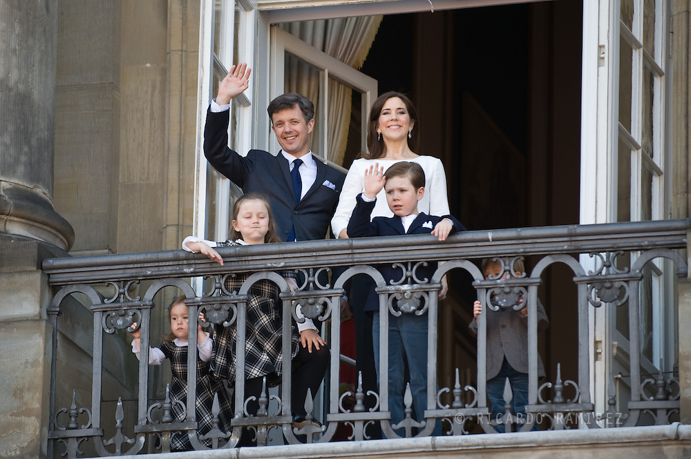 16.04.13. Copenhagen, Denmark.Queen Margrethe II celebrates her 73th birthday with her whole family, From left to right, Princess Josephine, Princess Isabella,Crownprince Frederik, Crownprincess Mary and Prince Christian. The royal family appears on the balcony of Christian IX's Palace at Amalienborg Palace.Photo: © Ricardo Ramirez