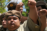 About 6,000 people marched in the La Gran Marcha on May 1, 2010, to Armory Park in Tucson, Arizona, USA. The focus of the march was the protest of the controversial bill SB1070 that takes aim at illegal immigration.  Members of the Brown Berets participate in the march.