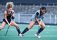 AMSTELVEEN - Maria Verschoor (A'dam)  met Leiah Brigitha (A'dam)   tijdens de  training van de dames van Amsterdam (AH&BC) voor de eerste competitiewedstrijd. COPYRIGHT KOEN SUYK
