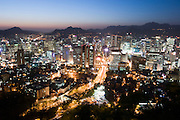 Mt. Namsan. Panoramic view at dawn over central Seoul.