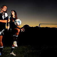 Appeal-Democrat 2012-2013 Girls Soccer Co-Players of the Year Erika Linch and Jayden Montejano (Nate Chute/Appeal-Democrat)