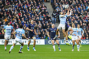 Sean Maitland and Ramiro Moyano jump for the ball during the Autumn Test match between Scotland and Argentina at Murrayfield, Edinburgh, Scotland on 24 November 2018.
