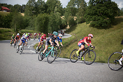 A Drops Cycling Team rider rides mid-pack during the 97,1 km second stage of the 2016 Ladies' Tour of Norway women's road cycling race on August 13, 2016 between Mysen and Sarpsborg, Norway. (Photo by Balint Hamvas/Velofocus)