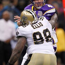September 9, 2010; New Orleans, LA, USA;  New Orleans Saints defensive tackle Sedrick Ellis (98) sacks Minnesota Vikings quarterback Brett Favre (4)during the third quarter of the NFL Kickoff season opener at the Louisiana Superdome. Mandatory Credit: Derick E. Hingle