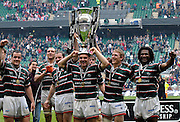 Twickenham, Great Britain.  Andy GOODE, wears the cup as a hat, left to right Marcos AYERZA, Geordan MURPHY, andy GOODE, and Sam VESTY right , Seru RABENI, after the Tigers win the  Premiership Final against Gloucester Rugby at the RFU Stadium, Surrey England, on Sat. 12.05.2007. [Credit: Peter Spurrier/Intersport Images]