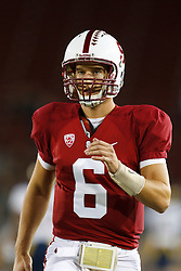 Nov 19, 2011; Stanford CA, USA;  Stanford Cardinal quarterback Josh Nunes (6) warms up before the game against the California Golden Bears at Stanford Stadium.  Stanford defeated California 31-28. Mandatory Credit: Jason O. Watson-US PRESSWIRE