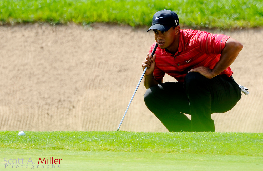 Aug 16, 2009; Chaska, MN, USA; Tiger Woods (USA) lines up a shot on the 5th green during the final round of the 2009 PGA Championship at Hazeltine National Golf Club.  ©2009 Scott A. Miller