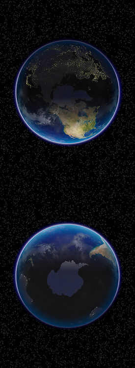 North and South poles of Planet Earth