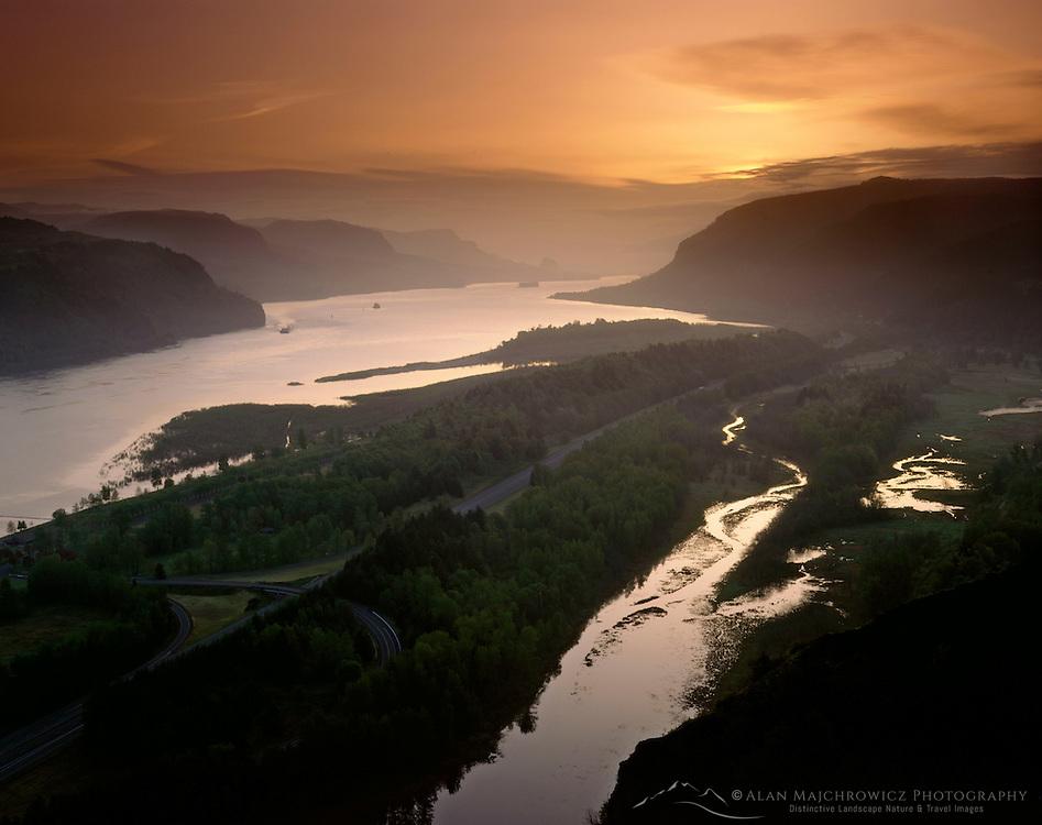 Dawn over the Columbia River Gorge, Columbia River Gorge National Scenic Area, Oregon USA