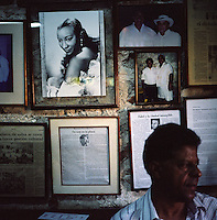 """A photo of singer Celia Cruz hangs on the wall of a salsa bar in the """"Old City"""" of Cartagena, Colombia. (Photo/Scott Dalton)"""
