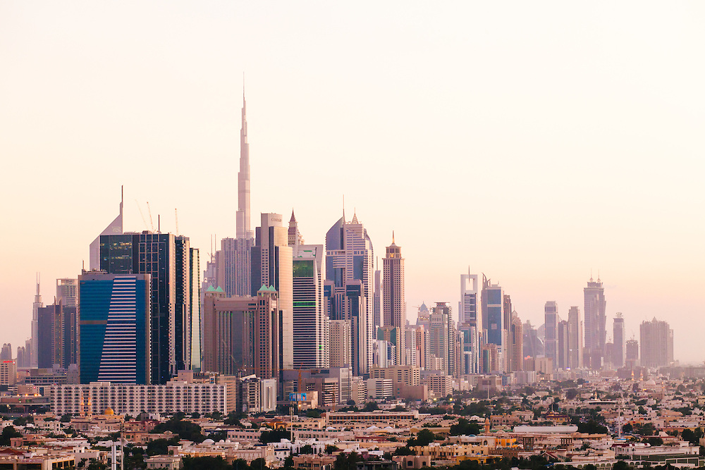 Dubain Skyline, 2016.  Home to the tallest skyscrapers in the world. The Burj Khalifa tower standing the tallest on the left.