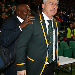 LONDON, ENGLAND - OCTOBER 17: Owen Nkumane Supersport rugby commentator with Heyneke Meyer (Head Coach) of South Africa during the Rugby World Cup Quarter Final match between South Africa and Wales at Twickenham Stadium on October 17, 2015 in London, England. (Photo by Steve Haag/Gallo Images)