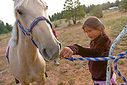 "09 SEPTEMBER 2007 -- ST. MICHAELS, AZ: JESSICA SMITH, 7, from Brimhall, NM, gives some grass to her mustang, Lightning, before the mustang was raced in a traditional Navajo Horse Race in the summit area of the Navajo Indian reservation about 10 miles west of St. Michaels, AZ. Traditional horse racing is making a comeback on the Navajo reservation. The races are run on improvised courses that vary depending on the local terrain. Use of saddles is optional (except in the ""Cowhand Race"" which requires a western style saddle) and many jockeys ride bareback. The distances vary from one mile to as long as thirty miles. Traditional horse races were common until the 1950's when they fell out of favor, but there has been a resurgence in traditional racing since the late 1990's and now there is a traditional horse racing circuit on the reservation.  The race was organized by the Begay family of Steamboat, AZ and run on private land about three miles from a paved road.   Photo by Jack Kurtz"
