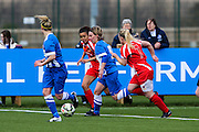 Brighton's Charlotte Gurr attacks during the FA Women's Premier League match between Brighton Ladies and Cardiff City Ladies at Brighton's Training Ground, Lancing, United Kingdom on 22 March 2015. Photo by Geoff Penn.
