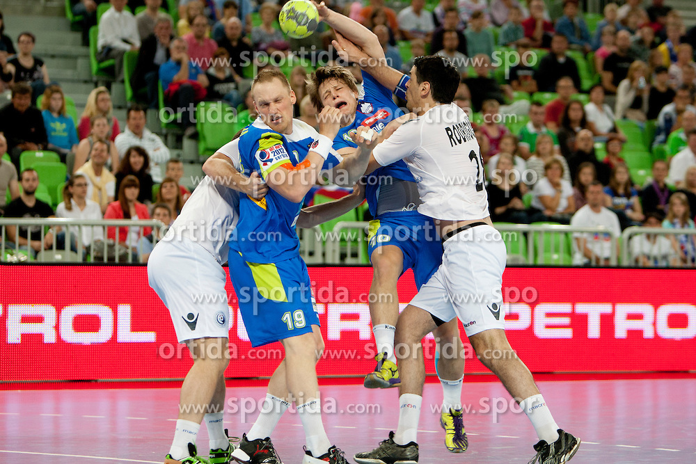 Miha Zvizej and Jure Dolenec of Slovenia at handball match between National teams of Slovenia and Portugal of Qualifications for World Cup 2013, on June 9, 2012 in Arena Stozice, Ljubljana, Slovenia. (Photo By Urban Urbanc / Sportida.com)