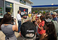 Senator Rand Paul answers questions from supporters outside the Gilford Mobil Mart on Wednesday afternoon.  (Karen Bobotas/for the Laconia Daily Sun)