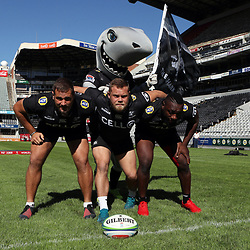 DURBAN, SOUTH AFRICA - MAY 04: Thomas du Toit of the Cell C Sharks with Akker van der Merwe of the Cell C Sharks and Tendai Beast Mtawarira of the Cell C Sharks during the Cell C Sharks captains run at Jonnsons Kings Park on May 04, 2018 in Durban, South Africa. (Photo by Steve Haag/Gallo Images)