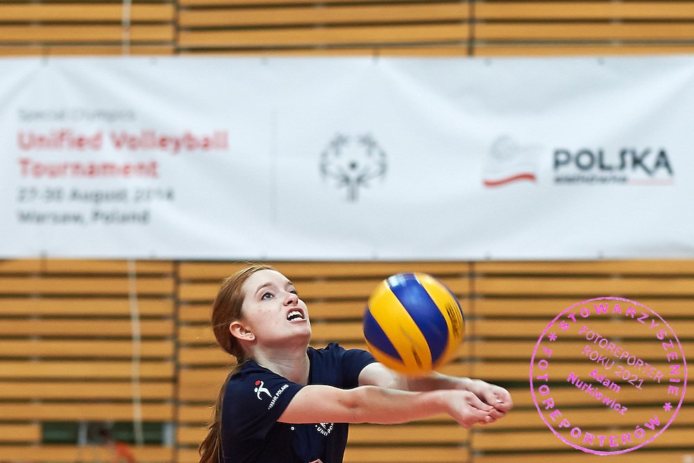 Volleyball match between SO Serbia (white) and SO USA (blue) during of The Special Olympics Unified Volleyball Tournament at Ursynow Arena in Warsaw on August 27, 2014.<br /> <br /> Poland, Warsaw, August 27, 2014<br /> <br /> For editorial use only. Any commercial or promotional use requires permission.<br /> <br /> Mandatory credit:<br /> Photo by &copy; Adam Nurkiewicz / Mediasport