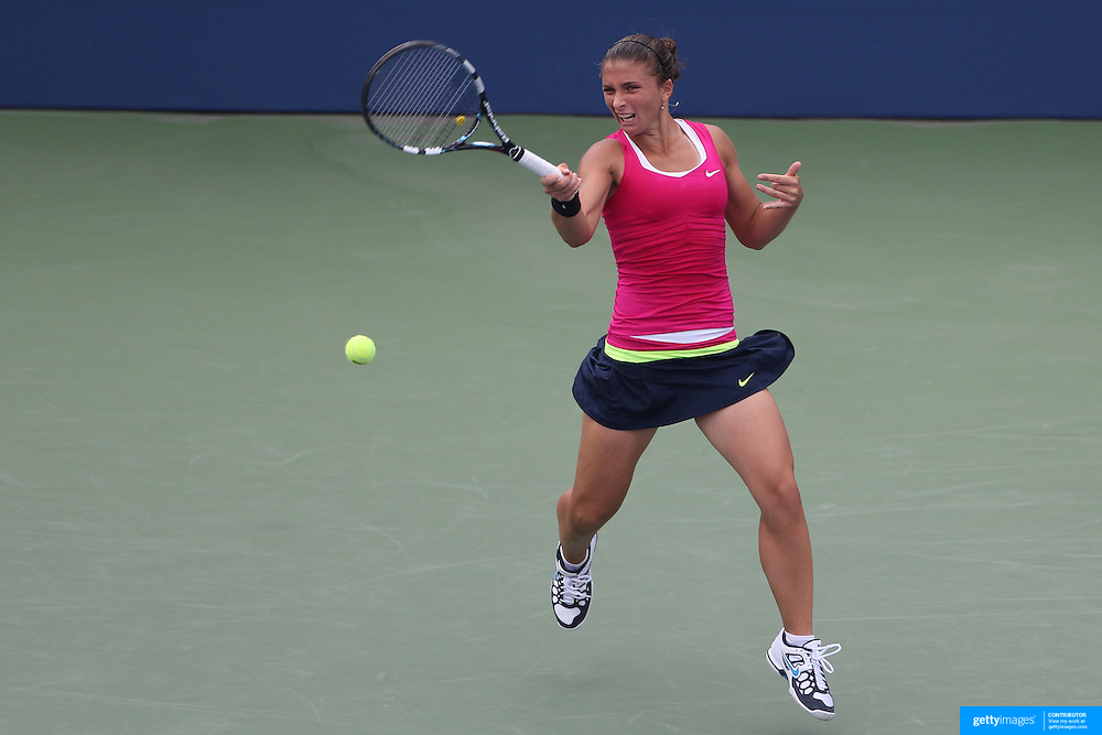 Sara Errani, Italy, in action against Angelique Kerber, Germany, during the US Open Tennis Tournament, Flushing, New York. USA. 3rd September 2012. Photo Tim Clayton