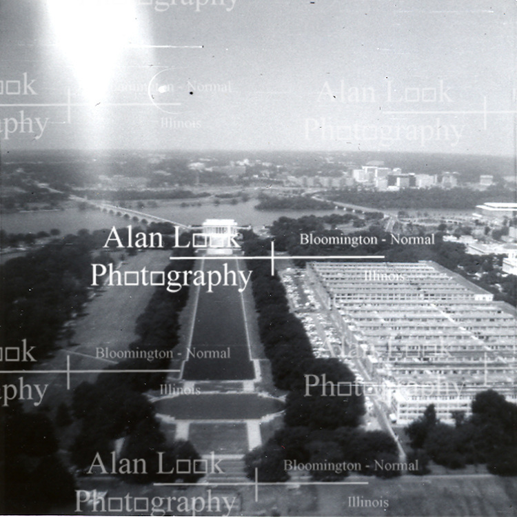 Summer 1970:  From high atop the Washington Monument, the Lincoln Memorial can be seen at the opposite end of the National Mall in Washington D.C...Image taken by a pre-teen boy during the year listed in caption,  scanned and adjusted in PhotoShop.  Image was shot with a Kodak Hawkeye 126 Instamatic camera..