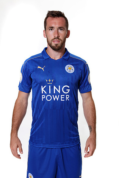 LEICESTER, ENGLAND - JULY 21: Christian Fuchs during Leicester City Official Portraits at Belvoir Drive Training Complex on July 21 , 2016 in Leicester, United Kingdom.  (Photo by Plumb Images/Leicester City FC via Getty Images)