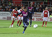 Jonathan Kodjia takes a penalty and scores during the EFL Sky Bet Championship match between Rotherham United and Aston Villa at the AESSEAL New York Stadium, Rotherham, England on 10 April 2019.
