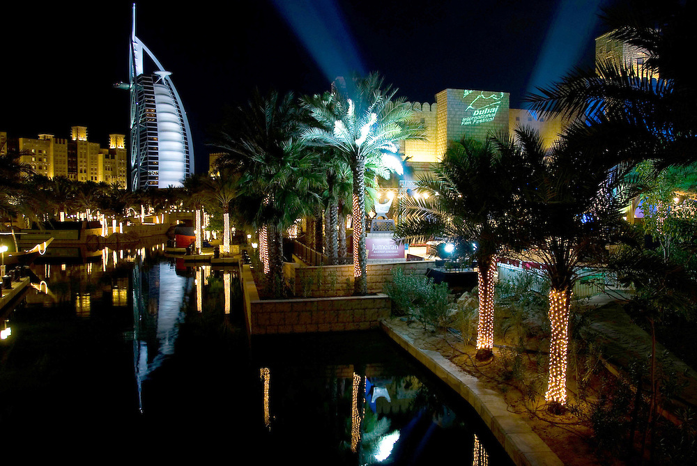 A view of the Madinat Jumeirah and the Burj Al Arab Hotel on December 14, 2006. The Madinat Jumeirah, Dubai played host to the Dubai International Film Festival between December 10-17 2006. Archive of images of Dubai by Dubai photographer Siddharth Siva